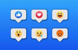ícone de reações de rede social emoji vetor