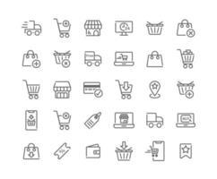 conjunto de ícones de contorno de compras online vetor