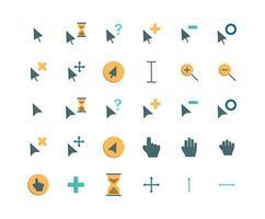 conjunto de ícones planos do cursor vetor