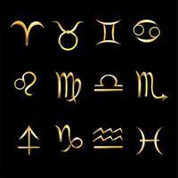conjunto de ícones de signos dourados do zodíaco vetor