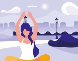 mulher praticando ioga ao ar livre vetor