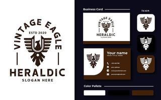 modelo de logotipo vintage de águia heráldica vetor