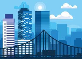 cena da paisagem urbana de edifícios com ponte vetor