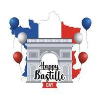 faixa de celebração nacional do dia da bastilha francesa vetor