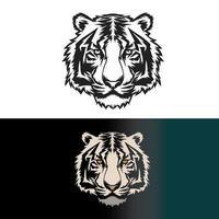 conjunto de design de cabeça de tigre vetor