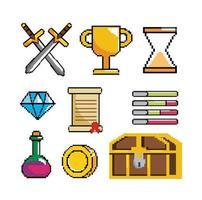 conjunto de ícones gráficos de pixel de videogame vetor