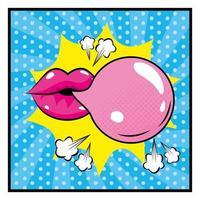 boca e chiclete em estilo pop-art vetor