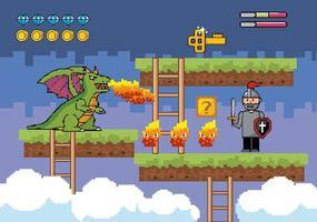 cena de batalha de videogame com dragão vetor
