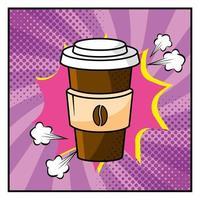 xícara de café em estilo pop-art vetor