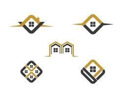 conjunto de design de logotipo dourado e preto da casa vetor