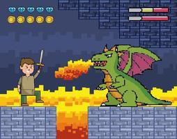 cena de videogame com dragão cuspindo fogo vetor