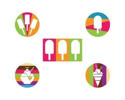 conjunto de logotipo de sorvete vetor