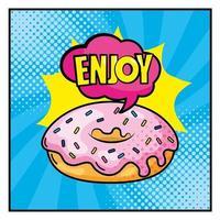 donut com letras no estilo pop-art vetor