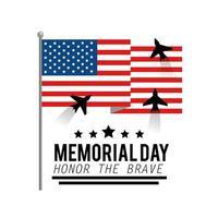 bandeira dos eua com aviões para o dia do memorial vetor