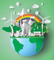 arte em papel de família ecológica vetor