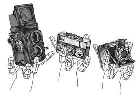 câmera vintage mão desenho vetor