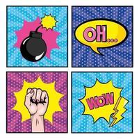 conjunto de histórias em quadrinhos pop art vetor
