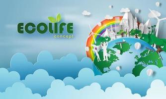 dia ecológico vida amigável com o meio ambiente vetor
