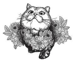 tatuagem arte gato e flor vetor