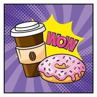 donut com xícara de café e onomatopeia vetor