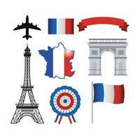 conjunto de ícones franceses vetor