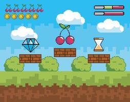 cena de videogame com ícones de pixel vetor