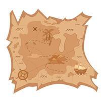 mapa do tesouro em pergaminho. vetor