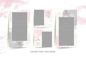 modelo de mídia social da moda mulher com rosa abstrato