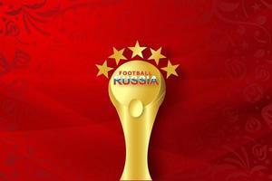 arte em papel do futebol vermelho russo mundial vetor