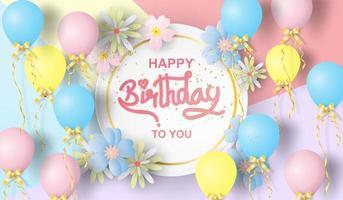 arte em papel de feliz aniversário vetor