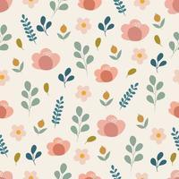 padrão sem emenda com flores em estilo doodle
