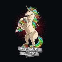 cavalo unicórnio colorido