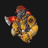 bombeiro com machado vetor