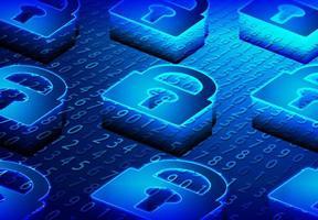 fechadura isométrica e conceito de segurança cibernética