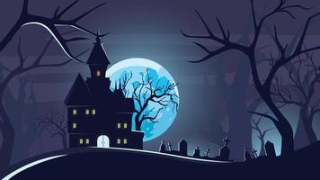fundo de dia das bruxas com castelo sob o luar.
