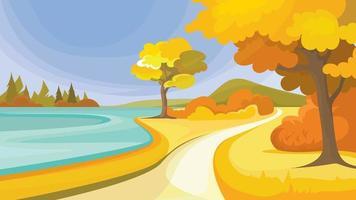 parque de outono à beira do lago.