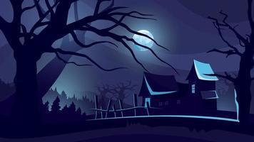 fundo de dia das bruxas com a casa ao luar.