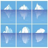 conjunto de icebergs com parte subaquática. vetor