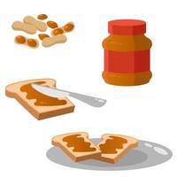 conjunto de objetos com pasta de amendoim. vetor