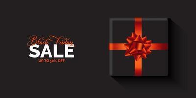 banner preto de venda sexta-feira com design de presente