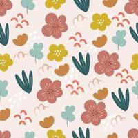 doodle botânico padrão sem emenda