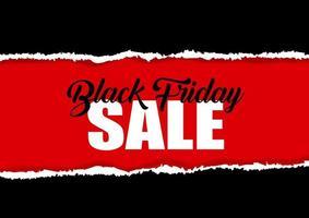 design de venda de sexta-feira negra com efeito de papel rasgado vetor