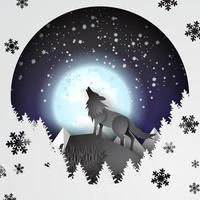 papel arte lobo na montanha com neve e lua cheia no inverno vetor