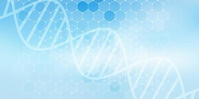 banner médico com desenho hexagonal e fita de DNA