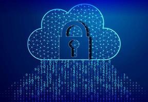 design de código de bloqueio, cadeado e computação em nuvem