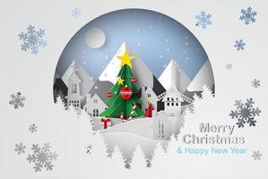 árvore de Natal feliz com conceito de forma de círculo vetor