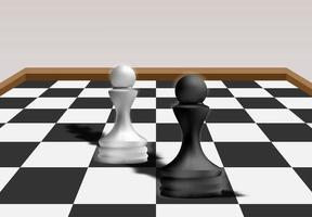 xadrez de peão preto vs xadrez de peão branco vetor