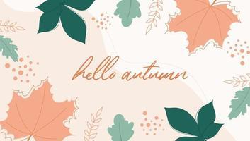 fundo de outono moderno com folhas laranja e amarelas. vetor