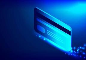 cartão de crédito em fundo azul vetor