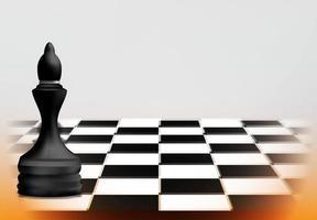 conceito de jogo de xadrez com peça rainha preta vetor